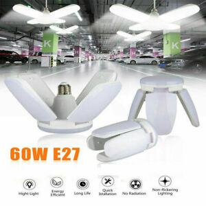 4PCS E27 LED Garage Light Bulb Deformable Ceiling Fixture Lights Workshop Lamp