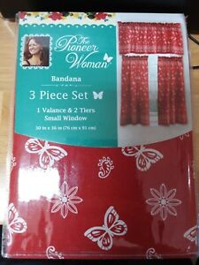 The Pioneer Woman Bandana 3-Piece Kitchen Curtain Tier and Valance Set, Red