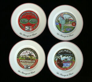 French Cheese Plates Set Vintage Advertising Images in Red Set of 4 8quot; Plates