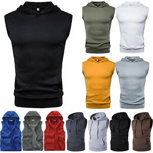 Mens Sleeveless Hooded Vest Sports Gym Running Muscle Tee Tops T Shirts Hoodies $15.48