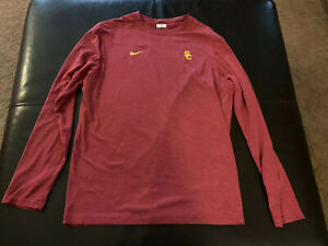USC Trojans Nike Football Shirt Large Team Issued Dri Fit Long Conditioning $200.00