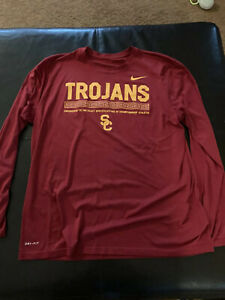USC Trojans Nike Football Fitted Shirt XL Long Sleeve Dri Fit Team Issued $250.00