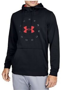 Under Armour Mens Coldgear Pullover Hoodie Black Red Logo 1345323 002 Small $29.00