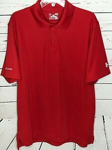 Under Armour mens large golf polo shirt red loose Heat Gear short sleeve $19.97