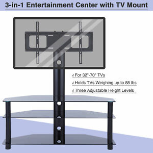 3-Tier Aluminum Floor TV Stand w. 45° Rotation for 32