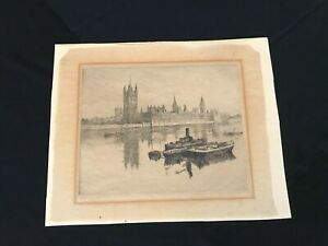 Vintage Original Signed Pen and Ink Drawing House of Parliament $10.00