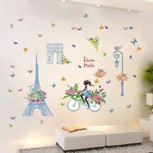 Removable Wall Decal Paris Parian eiffel tower Girl Sticker Home Room DIY Decor