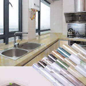 10m Marble Self Adhesive Wallpaper Roll Oil Proof for Kitchen Table Lining