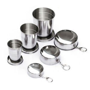 Camping Portable Stainless Steel Collapsible Mug Folding Cup Keychain Drinkware