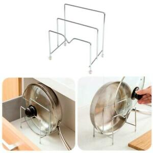 Kitchen Stainless Steel Pot Lid Rack Pan Cutting Board Holder Organizer solid