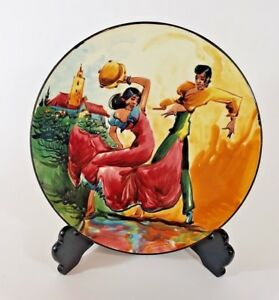 Spain Bolero Dancers Signed Hand Painted Wall Hanging Plate Decor 10quot; Year 1970