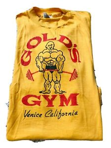 Vintage 90s Golds Gym Yellow Lifting T Shirt Venice California Hanes Sz L Large $99.99