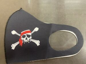 Small Pirate Skull Crossbones Black Background Nylon Face Mask Reusable Washable