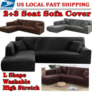 L Shape 32 Seat Stretch Elastic Fabric Sofa Cover Sectional Corner Couch Cover