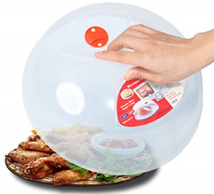 Large Microwave Plate Cover Easy Grip Microwave Splatter Guard Lid With Steam Ve