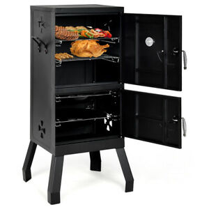 Vertical Charcoal Smoker BBQ Barbecue Grill with Temperature Gauge Outdoor Black $119.95