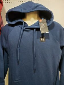 NEW Mens Under Armour Navy Blue Fleece Hoodie Pullover Large Tall small logo $25.19