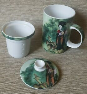 3 Piece Tea Cup with Infuser and Lid Beautiful Asian Women Geisha Forest Design