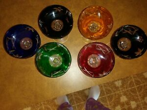 VINTAGE LAUSITZER COLORED LEAD CRYSTAL CHAMPAGNE  GLASSES