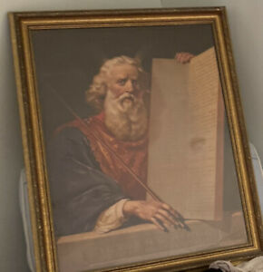 Rare American Chromolithograph. Moses And The Ten Commamdments c. 1877 Bible $800.00