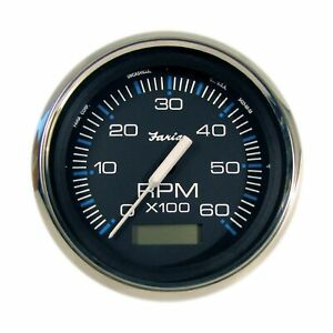 Faria 33732 Chesapeake Tachometer 6000 RPM Gauge with Hourmeter - Black SS, 4