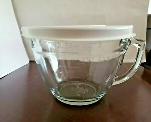 🥧 Pampered Chef Clear Glass 8 Cups 2 Qt. Measuring Cup Mixing Batter Bowl w/Lid