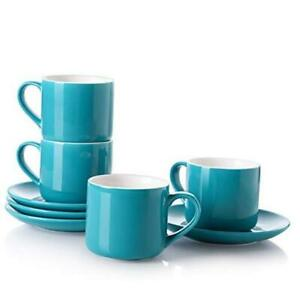 LIFVER Cappuccino Cup, 6 oz Porcelain Latte cups with Saucer for Coffee or Tea,