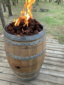 Wine Barrel Fire Pit - Weathered, wine stained, propane, lava rock fire pit