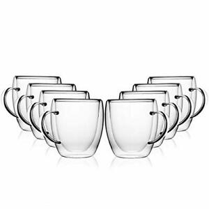 8oz Coffee Mugs, Set of 8, Clear Glass Double Wall Cup with handle
