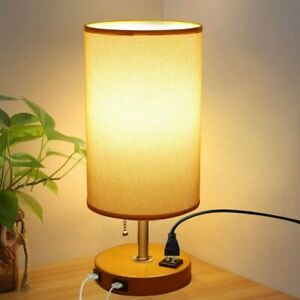 USB Table Lamps for Bedroom,Bedside Lamp with Dual Charging Ports,