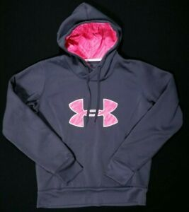 Under Armour Storm Gray Pink Breast Cancer Ribbon Hoodie Size M Women's $29.98