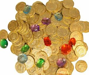1150 Gold Coins AND Jewels Gems PIRATE TREASURE CHEST TOY PLAY MONEY PARTY
