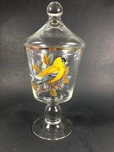 Vintage Clear Glass Apothecary Jar With Goldfinch Bird Pattern
