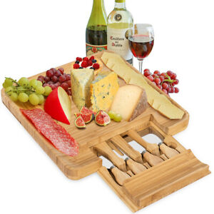 Bamboo Cheese Board amp; Cutlery Set w 4 Stainless Steel Knives Slide out Drawer