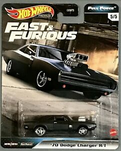 HOT WHEELS PREMIUM FAST & FURIOUS FULL FORCE '70 DODGE CHARGER R T BLACK MOPAR