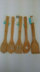 5 Piece Wooden Cooking Utensil Set Bamboo Kitchen Spatula Spoons Tools Wood Kit