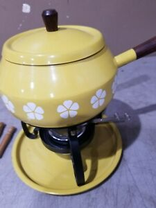 Vintage Made in Japan  fondue set with forks Yellow w/ flowers Free Ship