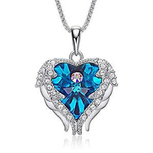 Sterling Silver Angle Wing Blue Heart of Ocean Pendant Necklace for Women $133.49