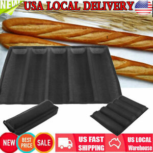Non-stick Carbon Silicone Wave French Bread Baking Tray Baguette Bake Mold Black
