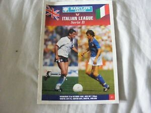 1992 BARCLAYS LEAGUE V ITALIAN LEAGUE TEAMSHEET @ BRISTOL CITY