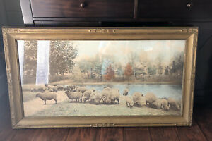 Antique Wallace Nutting Framed Lithograph A Warm Spring Day Photograph Signed $231.00