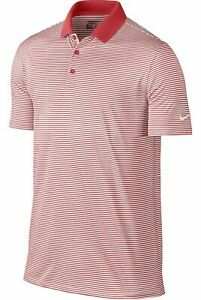 Nike Dri Fit Golf Victory Stripe Polo Shirt Red White 725520 657 Men's NWT $26.99