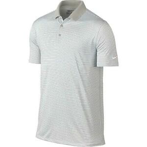 Nike Dri Fit Golf Victory Stripe Polo Shirt Gray White 725520 093 Men's NWT $26.99