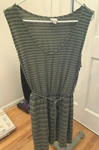 Womens Merona Summer Dress Green and Navy Stripes Size XXL Sleeveless Cute