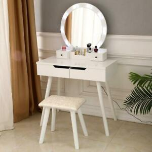 Vanity Set Makeup Dressing Table Desk For Bedroom 10 Led Light Round Mirror