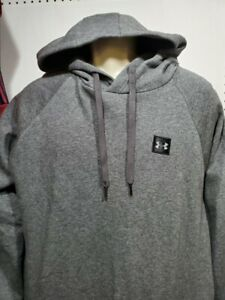 NEW Mens Under Armour Dark Gray Fleece Hoodie Pullover Large Tall small logo $25.19