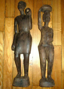 Pair Large 24 25quot; tall African Art Wood Sculptures Man amp; Partly Nude Woman Nice $79.95