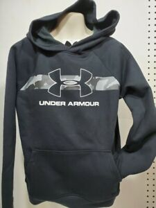 Boys Kids Youth UNDER ARMOUR Pullover Hoodie NEW Small Long Sleeve Black Camo $20.99
