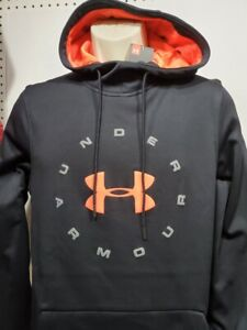 NEW Mens Under Armour Black Coldgear Long Sleeve Fleece Pullover hoodie Small $29.99