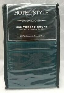 Hotel Style 600 TC 2-Pillowcases Standard/Queen Green Damask Weave   - Free Ship